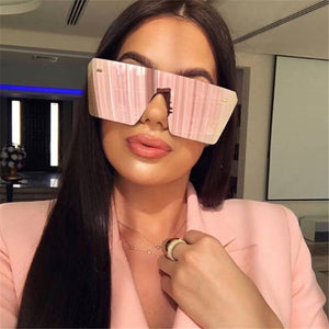 Oversized Square Sunglasses Women Luxury Brand Fashion Flat Top One Piece - Center Of Treasures