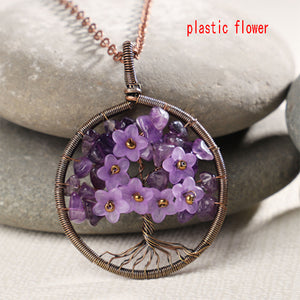 7 Chakra Tree Of Life Pendant Necklace Copper Crystal Natural Stone Necklace Quartz Stones Pendants Women Christmas Gift - Center Of Treasures