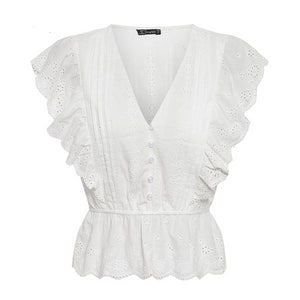 Sexy v neck summer blouse women Elegant ruffle high waist embroidery cotton shirt Fashion white blouse 2019 ladies tops - Center Of Treasures