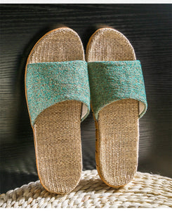 Women Men Sandals Slippers Soft Flip Flops Open Toe Flat Casual Slides Beach Shoes Flax Indoor Home Hemp - Center Of Treasures
