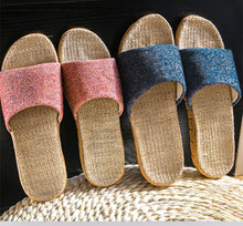 Summer Flax Slippers Indoor Floor Shoes Mixed Colors Casual Home Slipper Lovers Women Men Open Toe Slippers Flat Shoes - Center Of Treasures