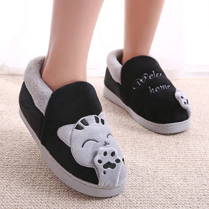 Women Men Winter Warm Home Slipper Couple Shoes Female Plush Cat Animal Slip On Soft Indoor Flats Comfort Ladies & Man Plus Size - Center Of Treasures