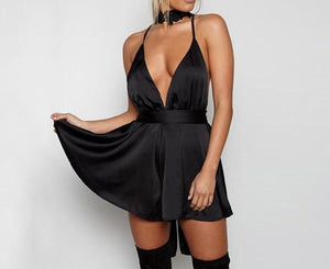 Strap Satin Backless Dress Casual Deep V Neck Sleeveless Sexy Elegant Night Party Summer A-line Short Dresses - Center Of Treasures