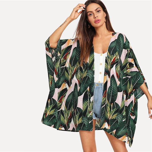 Floral Print Kimono Robe Multicolor Tropical Jungle Leaf Print Batwing Sleeve Beach Blouses - Center Of Treasures