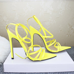 Sexy Yellow Sandals Pointed Fish Mouth Cross Stilettos Sharp Point Toe Ladies Sandals Summer 11.5cm heels - Center Of Treasures