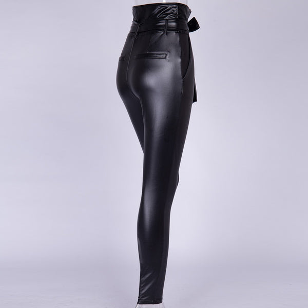 Women Legging Belt High Waist Pencil Pant Skinny Slim Fitted Sexy Faux Leather PU Gold Black Sashes Long Trousers Casual Sexy Exclusive Design Fashion - Center Of Treasures
