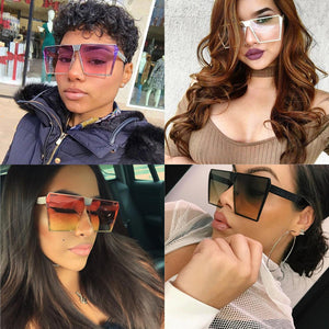 Women's Sunglasses Unique Oversize Shield Brand Designer Mirror Shades  Flat Top Glasses Vintage Gradient - Center Of Treasures