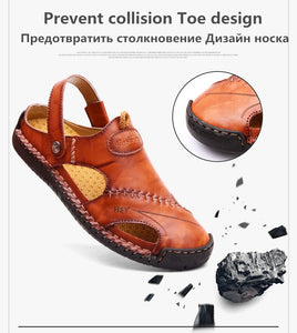 Summer Sandals Men Leather Classic Roman Sandals Slipper Outdoor Sneaker Beach Rubber Flip Flops Men Water Trekking Sandals - Center Of Treasures