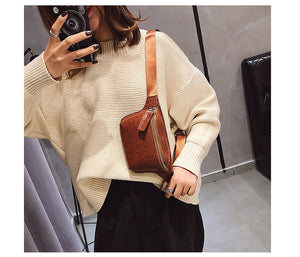 Waist Bag Women PU Leather Fanny Pack Fashion Belt Bag Women Phone Pouch Casual Black Chest Bags Girls Shoulder Backpack B135 - Center Of Treasures