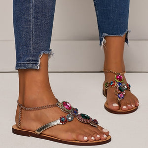 Gladiator Rhinestone Flats Women Sandals Shoes Bohemia Crystal Beach Shoes Rubber sole High quality Fow Summer Women - Center Of Treasures