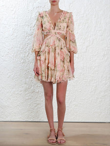 Floral Chiffon Boho Deep V Neck Backless Dress Short Vintage Flower Prints Evening Gowns Bridesmaid Summer Beach Mini Dress Woman Spaghetti Strap Cross - Center Of Treasures