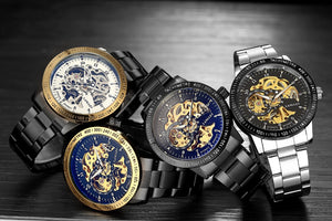 007 Automatic Skeleton Steampunk Watch Classic Watches Men Top Luxury Brand High Quality Skeleton Watch Automatic Mechanical 3 Atm Water Resistant Wristwatch Male - Center Of Treasures