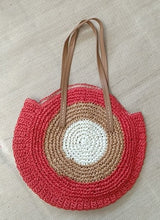 Round Straw Beach Bag Vintage Handmade Woven Shoulder Bag Raffia circle Rattan bags Bohemian Summer Vacation Casual Bags - Center Of Treasures