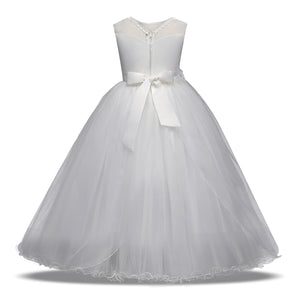 White Flower Dresses For Wedding Tulle Lace Long Christmas Dress Children Princess Costume - Center Of Treasures