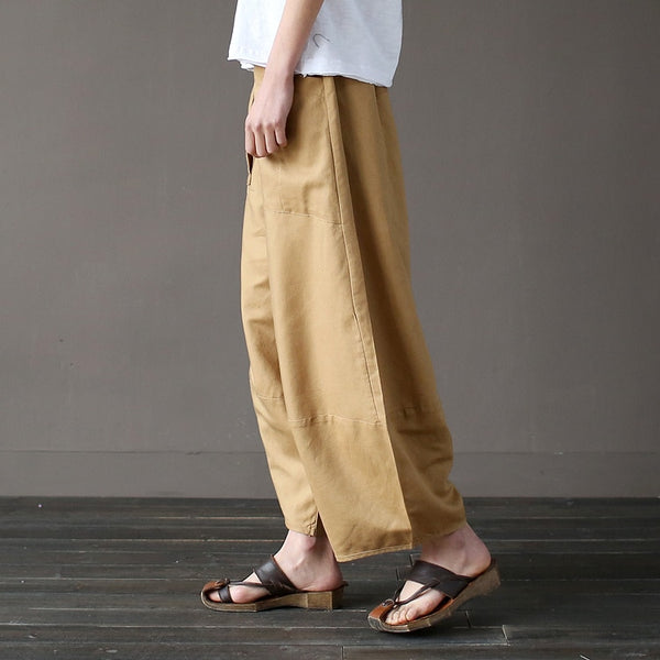 Loose Cotton Linen Casual Ankle Length Pants Wide Leg Women Big Pockets Trouser - Center Of Treasures