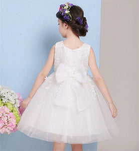 Toddler Lace Flower Girl Dresses Cheap Cute Flower Girl Dresses With Bow On The Back Baby Dress Birthday Lace Baptism Bowknot Princess For Wedding Party - Center Of Treasures