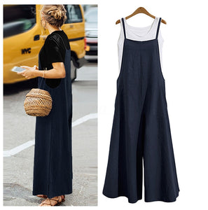 Loose Tank Jumpsuits Women Wide Leg Fashion Playsuit Casual Bodysuit Long Summer Plus Size - Center Of Treasures