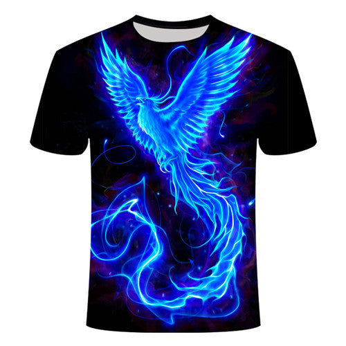 Blue Flaming tshirt Men Women t shirt 3d t-shirt Black Tee Casual Top Anime Camiseta Streatwear Short Sleeve Tshirt Asian size - Center Of Treasures