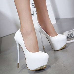 Women's Super high Heels Night Club Pumps  high-heeled Patent Leather Single Shoes Shallow Mouth Stiletto - Center Of Treasures