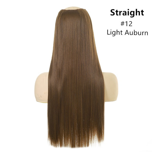 Clip in Hair Extension Straight & Wavy Ombre One Piece Head Long Natural False Synthetic Hairpieces Messy Rose Bun 24