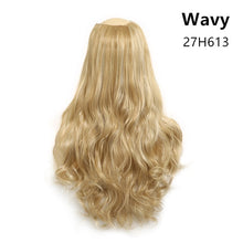 "Clip in Hair Extension Straight & Wavy Ombre One Piece Head Long Natural False Synthetic Hairpieces Messy Rose Bun 24"" 170g U-Part - Center Of Treasures"
