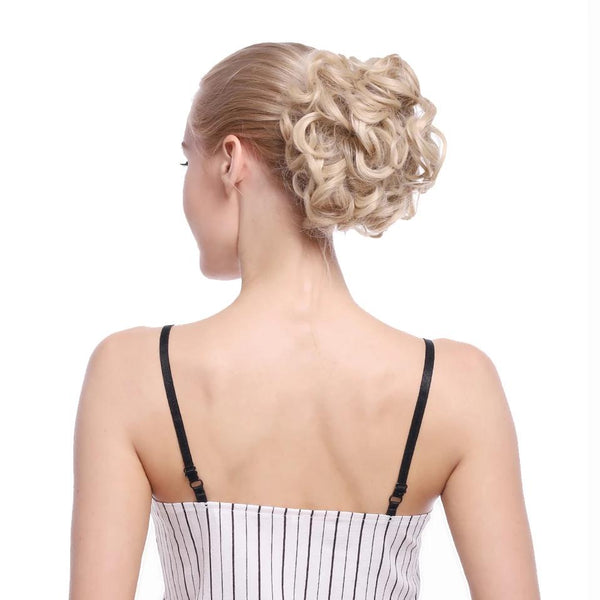 Hairpiece Extension Hair Bun Updo Cover Messy Rose Hair Scrunchies Synthetic Hair Pieces Large Comb Clip In Curly Chignon - Center Of Treasures