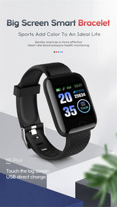 Smart Band Blood Pressure Screen Fitness Tracker Watch Heart Rate Fitness Bracelet Waterproof Music Control For Men Women - Center Of Treasures