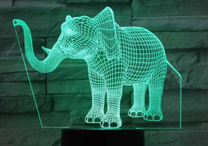 3D Animal Elephant Shape Night Lamp 7 Colors Change Table Lamp USB LED Acrylic Lights for Bedroom Home Decor Kids Gift - Center Of Treasures