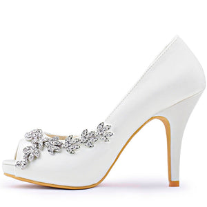 Women Platform High Heels Bridal Wedding Shoes  Satin Evening Party Ivory White Rhinestones Peep Toe Bride Bridesmaids Prom Pumps Burgundy - Center Of Treasures