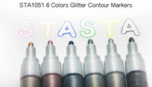 Dream Color Contour Pens 8 colors set Glitter Contour Markers Creative Stationery Poster Graffiti DIY Journal Painting Fluorescent - Center Of Treasures