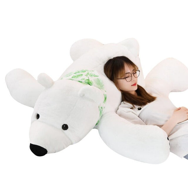 Baby Pillow Big Polar Bear Stuffed Plush Animals Newborn Plush Baby Soft Toy Kids Toys For Children's Room Decoration Cute Long Christmas Gift Doll