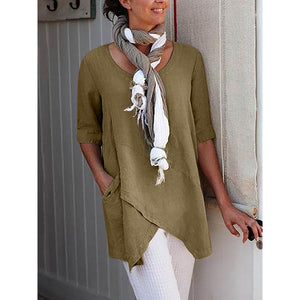 Half Sleeve Irregular Blouses Women Cross Design Boho Long Tops Shirt With Pocket - Center Of Treasures