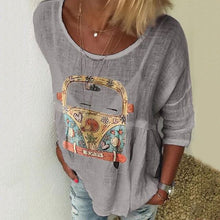 Women Tops Printed Casual Unique Summer Plus Size Loose Tunic Thin Shirt Crew Neck Cartoon Car Print Women's Blouse O-Neck Long Sleeve 5XL - Center Of Treasures