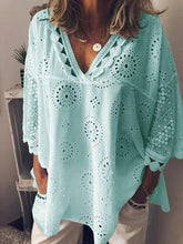 Plus Size Summer Women Cutout Blouse T Shirt Tunic Top Hollow Out Lace Patchwork Geometry V-neck - Center Of Treasures