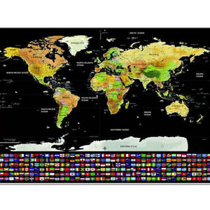 Scratch Off World Map Erase World Wall Sticker Personalized Travel Scratch Poster Journal - Center Of Treasures