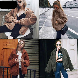 Teddy Coat Women Fluffy Jacket Autumn Winter Warm Fleece Fur Hoodie Oversized Soft Zipper Plush Thick Casual Plus Size Lamb Winter Faux Fur Coat Female Overcoat - Center Of Treasures