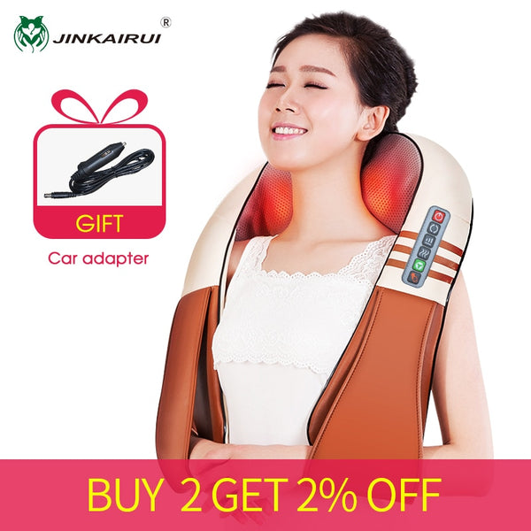Electrical Shiatsu Back Neck Shoulder Body Massager U Shape Infrared Heated Kneading Car/Home Massage Cellulite Shiatsu Health Care Electric Full Home Dual Use Acupuncture Back Knocking Tool Set - Center Of Treasures