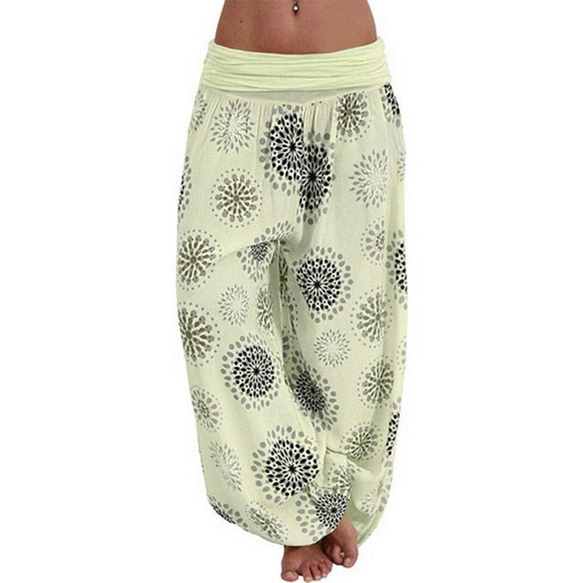Women Chiffon Harem Pants High Waist Female Cotton Pants Women India Folk Style Sports Trousers Digital Printed Loose Wide Leg Pants - Center Of Treasures