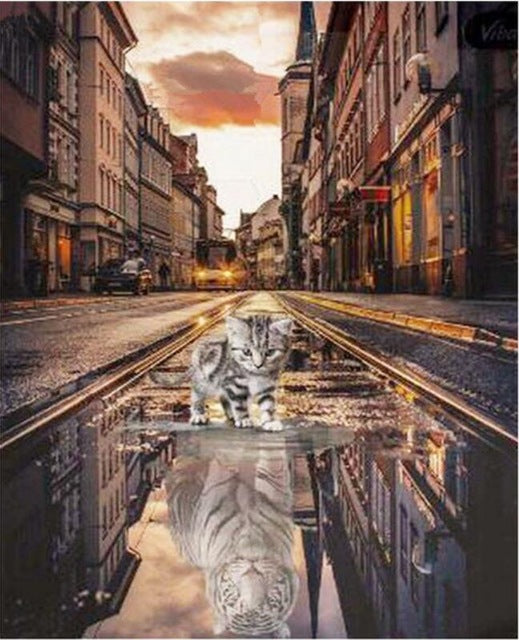 Wish of a Kitten 5d diy round Diamond Painting Embroidery Street View Cat Tiger Reflection Rhinestone Mosaic Needlework full square Decor v1253 - Center Of Treasures