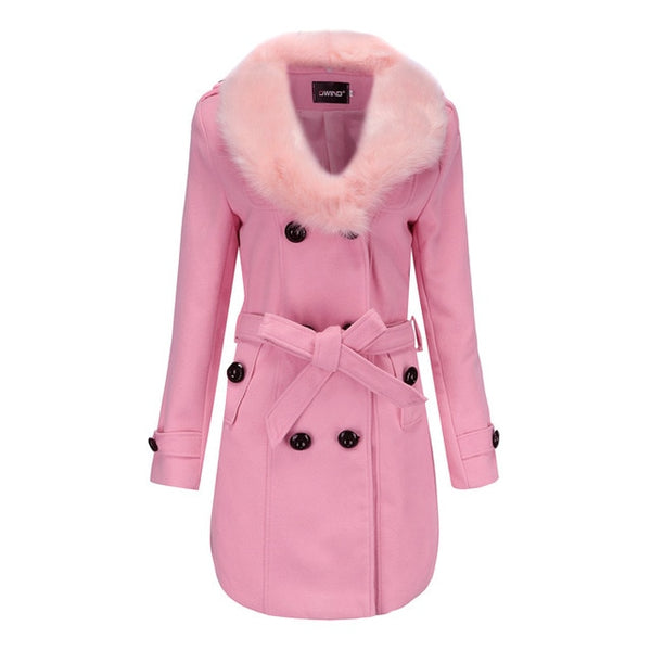 Women Winter Coats Jackets Basic Fur Collar Slim Parkas Fashion Solid Casual - Center Of Treasures