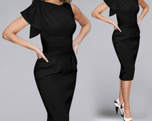 Pencil Dress Evening Plus Size Elegant Office One Shoulder Lotus Leaf Sleeve Pleat Bodycon
