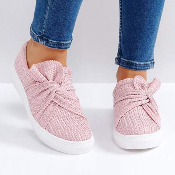 Women's Bow Solid Color Knitted Casual Fashion Loafers Adisputent Comfortable Breathable Shoes - Center Of Treasures