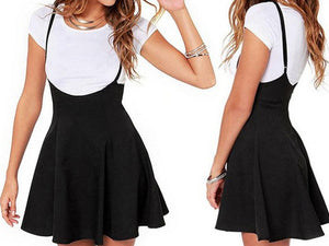 Suspender Mini Skirt Black Outfit Mini Dress Strap High Waist Casual Bodycon Streetwear Side Split - Center Of Treasures