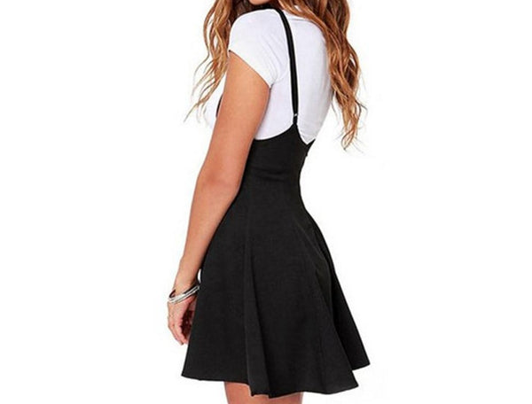 Intellectual Suspender Mini Skirt Black Outfit Mini Dress Strap High Waist Mini Suspender Sexy Casual Bodycon Streetwear Side Split Party - Center Of Treasures