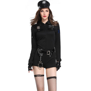 3 Pcs Halloween Policewoman Costumes Adult Ladies Long Sleeve Black Female Officer Cop Costume Uniform Party Sexy Police Costume - Center Of Treasures
