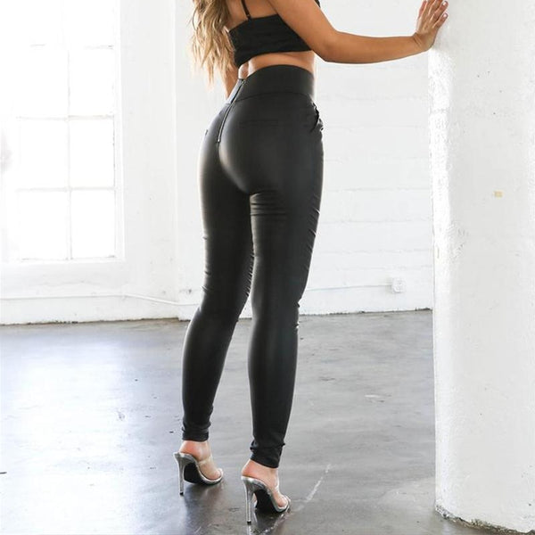 Women Legging High Waist Pencil Pant Zip Back Zipper Skinny Leather Pants Black Slim Fitted Sexy Casual Streetwear Trousers PU Faux - Center Of Treasures