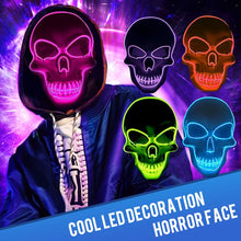 Halloween Skeleton Mask LED Glow Scary EL-Wire Mask Light Up Creative DIY College Witch Hot Unique Festival Cosplay Costume Supplies Party mardi gras - Center Of Treasures