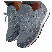 Women Sparkle Shoes Sneakers Flats Fashion Pink Sport Running Shoes Girl's Thick Shiny Casual Slip On - Center Of Treasures