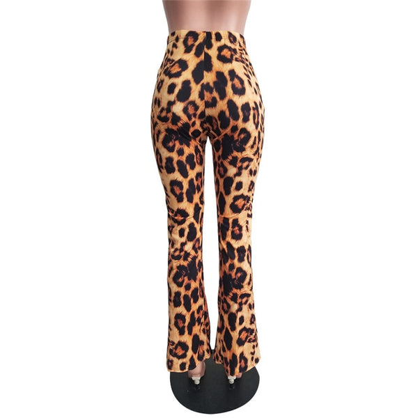 Leopard Print Flare Leggings Tiger High Waist Pants Wide Leg Pants Autumn Winter Women Fashion Sexy Bodycon Trousers Club - Center Of Treasures