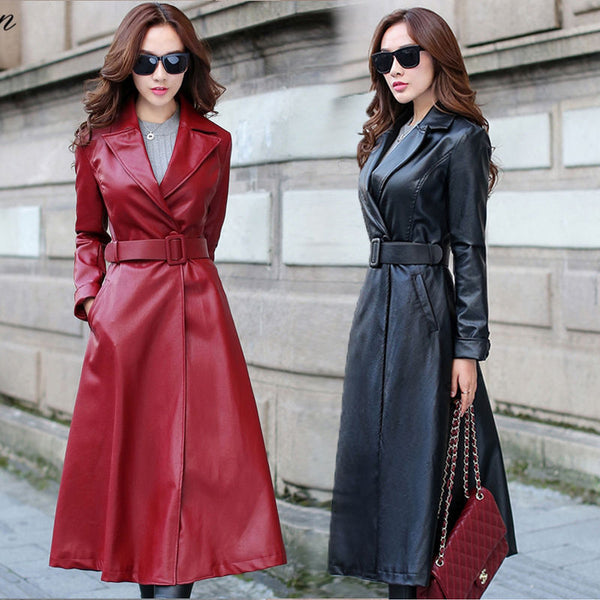 Women Long Coat Jacket PU Leather With Bow Tie Waist Female Outwear Punk Jacket Trench Coats Ladies Faux Autumn Winter Overcoats Windbreaker Outfit - Center Of Treasures